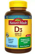 Nature Made Vitamin D3 1000 IU 25 mcg  Dietary Supplement Liquid Softgels 300 Ct