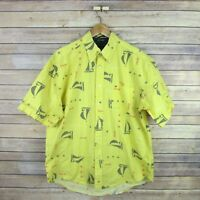 TOMMY HILFIGER Men's Short Sleeve Button Front Shirt L Large Yellow Sailboats