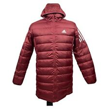 New listing New Adidas Essentials Real Down Hooded Red Parka Jacket GH4606 Mens Size Medium