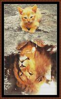 TRUE NATURE cross stitch pattern PDF (point de croix) [lion kitten cat]