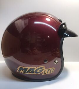 Vintage Bell Mag LTD Helmet Open Face w/Visor Maroon/Red Size Small 57-7 1/8
