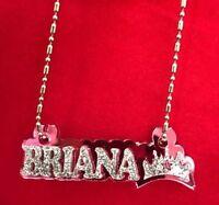 Name Plate Custom Name Necklace Princess Crown Nameplate Laser Cut Diamond Look