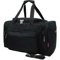 "Canvas 20"" carry on airplane/duffle/gym overnight bag FREE SHIP Solid Black"