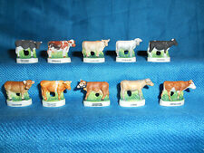 COWS Bovine CATTLE Bulls Set of 10 Mini Figurines FRENCH Porcelain FEVES Figures