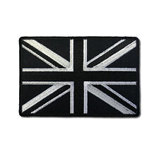 """4"""" British UK Flag Black and White Union Jack Sew or Iron on Patch Biker Patch"""