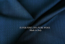 NAVY PURE WOOL SUPER FINE 150's DOBBI WEAVE LUXURY TAILORING MADE IN ITALY E52
