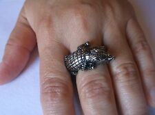 STAINLESS STEEL CROCODILE BAND RING SIZE 10