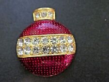 RED ACRYLIC AND CRYSTAL ORNAMENT PIN CHRISTMAS HOLIDAYS SIGNED EISENBERG ICE