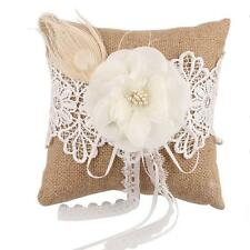 Vintage Burlap Feather Lace Pearl Flower Rustic Wedding Ring Pillow Cushion 8""