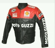 MOTO GUZZI MOTORBIKE RACING COWHIDE LEATHER JACKET CE PROVED FULL PROTECTION.