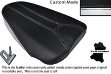 WHITE & BLACK CUSTOM FITS APRILIA TUONO 125 REAR PILLION LEATHER SEAT COVER