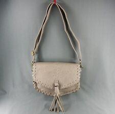 Grey Gray faux leather tassel hand bag purse shoulder saddle bag long adjustable