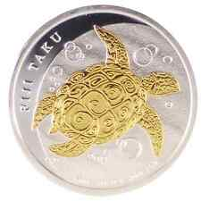 2013 1/2oz Ounce Silver Fiji Taku Turtle Coin 999 Pure Gold Gilded Theme
