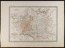 Pologne : Rare carte géographique ancienne 1846. Démembrements 1772, 1794, 1795