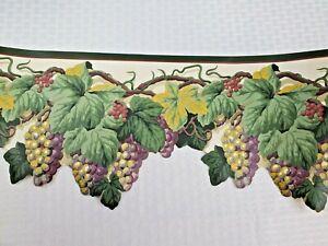 "1- 5 Yd Roll 8.5"" Die Cut Sculptured Edge Tuscan Grapevine Grapes Wall Border"