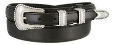 NEW Silver Buckle Set Genuine Leather Western Cowboy Ranger Belt, Sizes 32-50!