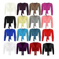 Women's Long Sleeve Tie up Ladies Bolero Shrug Cardigan Top UK 8-14