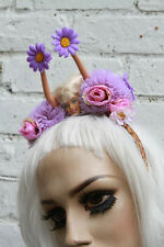 BARBIE CROWN POM POM FLORAL KAWAII LOLITA PASTEL GOTH ALICE BAND PURPLE