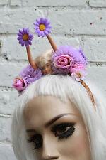 Barbie crown pom pom floral kawaii lolita pastel goth alice band violet