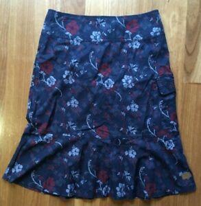 Kathmandu ladies Enact blue stretch floral 100% organic cotton cargo skirt 8