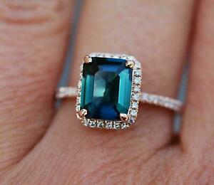 2.50Ct Emerald Cut London Blue Sapphire Halo Engagement Ring 14K Rose Gold Over