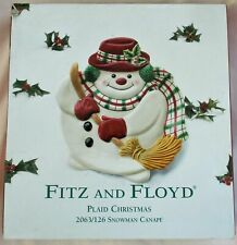 Fitz and Floyd Plaid Christmas Snowman Cookie Plate