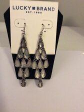 $39 Lucky Brand Silver  Tone Clear Teardrop Pave Chandelier Earrings UK5
