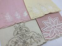 VTG Pink & Ivory Huck, Hand, Guest or Tea Towels w/ Embroidery Lot 4 (RF951-30)