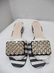 Kate Spade Black & White Stripe Diamante Block Heel Mules Slip On's UK 6.5 US 9