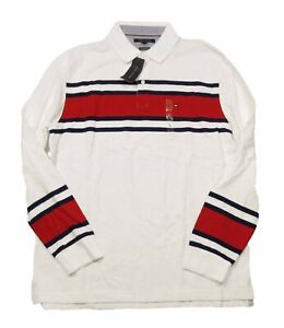 Tommy Hilfiger Men's White Lewiston Striped Classic Fit Long Sleeve Polo Shirt