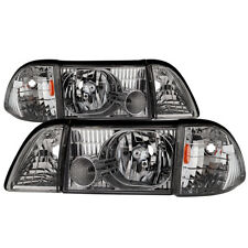 Ford 87-93 Mustang Chrome Replacement Headlights Corner Lamps Pair GT LX SVT