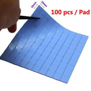 Blue 100mmx100mmx1mm GPU CPU Heatsink Cooling Thermal Conductive Silicone Pad_S2