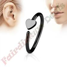 316L Surgical Steel Black Ion Plated Nose & Ear Cartilage Ring with Heart