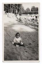 PHOTO Pochette en cuir Appareil Caméra 1939 Étui Enfant Photographié Plage Sable
