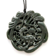 Black Green Jade Happy Lucky Deer Leaf Peach Amulet Pendant Double Faces