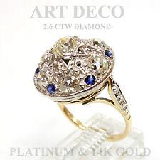 ANTIQUE ART DECO 2.06 ctw DIAMOND & 0.28 ctw SAPPHIRE RING 14K GOLD / PLATINUM