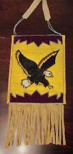 Plateau Flat Bag w. Beaded Eagle     vintage beadwork  pouch, Plains Indian