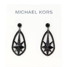 Michael Kors Black Ion-Plated Pave Starburst Drop Earrings MKJ6936