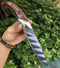 FORGED DAMASCUS HUNTING KNIFE SURVIVAL ART KNIFE RESCUE FIXED BLADE FULL TANG