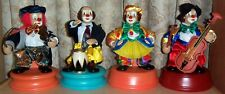 Set of 4 Animated Wind Up Musical Clowns Playing Instruments - New In Boxes!
