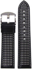 20mm Panatime Black Perforated Leather Watch Band w/White Stitch 120/80 20/18