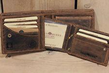 GREENBURRY Geldbörse Leder Portemonnaie Scheintasche Geldbeutel Vintage braun