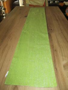 toller Tischläufer Tischdecke grün mit Glitzerstreifen ca.163 x 31 cm
