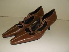 Spiegel Details 6 M Brown Leather heels Dress or work  2 buckle straps point