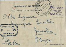 CARTOLINA PRIGIONIERI POW CAMP 222 SICILIA 1943 GINESTRA