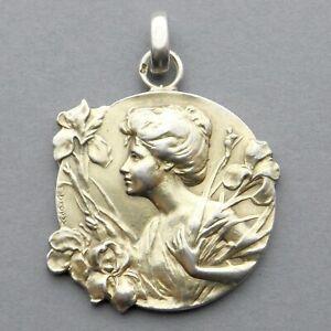 Antique Silver Large Medal. Woman Marianne Female. Art Nouveau. Pendant Dropsy