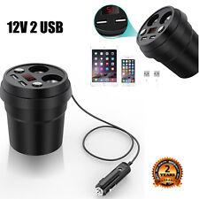 Neu 12V 2 USB Zigarettenanzünder Getränkehalter Verteiler Auto KFZ Ladegerät