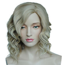 Blonde Wig Short Bob Wavy Cosplay Side Part Bangs Heat Resistant Hairstyle Wig