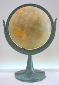 Vintage Art Deco Hammonds World Globe on Cast Iron Stand c.1932