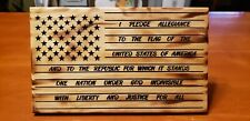 United States Wooden Flag with Pledge of Allegiance, 11.5 x 7 x 3/4